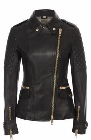 Приталенная кожаная куртка с косой молнией Burberry. Цвет: черный