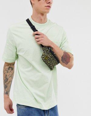 Сумка-кошелек на пояс цвета хаки с леопардовым принтом -Зеленый Mi-Pac