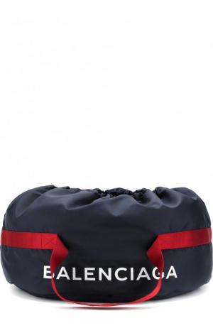 Текстильная спортивная сумка Wheel с логотипом бренда Balenciaga. Цвет: синий