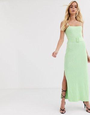Трикотажное платье лаймового цвета в рубчик с поясом -Зеленый цвет Finders Keepers