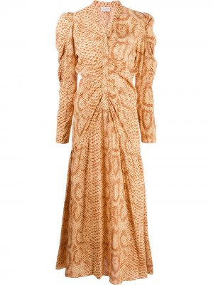 Платье макси Cles со змеиным принтом By Malene Birger. Цвет: оранжевый