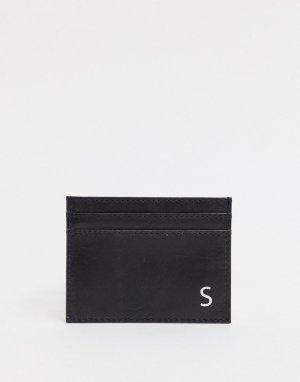 Кожаный кошелек для карт с инициалом S -Черный Peter Werth