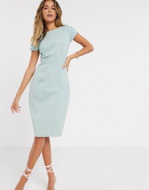 Платье-футляр шалфейно-зеленого цвета с присборенными короткими рукавами -Зеленый Closet London