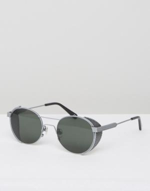 Солнцезащитные очки в стальной оправе Outdoor Han Kjobenhavn. Цвет: черный