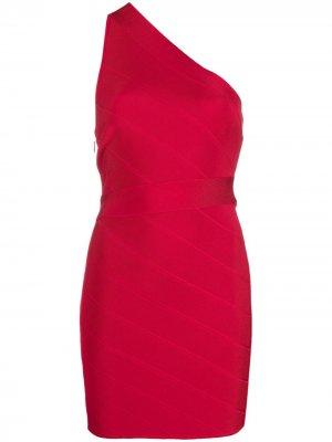 Платье мини Icon на одно плечо Hervé Léger. Цвет: красный