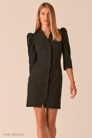 Короткое платье на пуговицах с рукавами-буфами черного цвета LOVE REPUBLIC