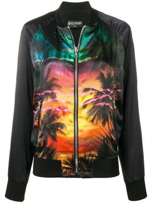 Куртка-бомбер с принтом Balmain. Цвет: черный