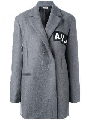 Пальто с заплаткой логотипом Au Jour Le. Цвет: серый