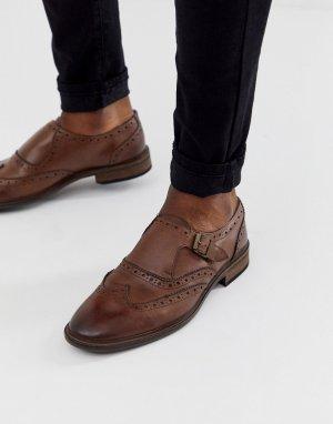 Коричневые кожаные монки с отделкой в стиле брогов -Коричневый цвет ASOS DESIGN