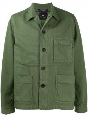 Куртка в стиле милитари на пуговицах PS Paul Smith. Цвет: зеленый