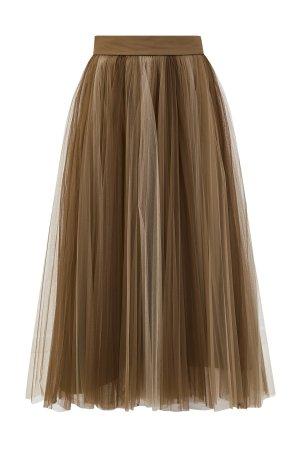 Плиссированная юбка-миди из вуали BRUNELLO CUCINELLI. Цвет: зеленый