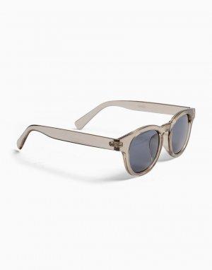 Солнцезащитные очки в круглой оправе серого цвета с затемненными стеклами -Белый Topman