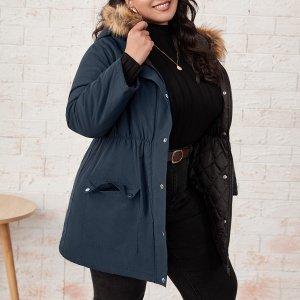 Размера плюс Пальто-парка с карманом плюшевый отделкой капюшоном SHEIN. Цвет: темно-синий