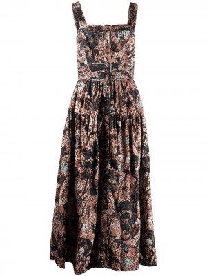 Платье миди Isabela без рукавов Ulla Johnson. Цвет: разноцветный