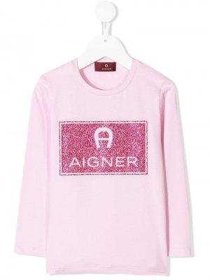 Толстовка с логотипом из блесток Aigner Kids. Цвет: розовый