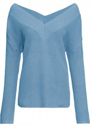 Пуловер с открытыми плечами bonprix. Цвет: синий