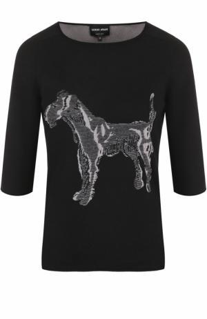 Кашемировый пуловер с принтом и укороченным рукавом Giorgio Armani. Цвет: черный