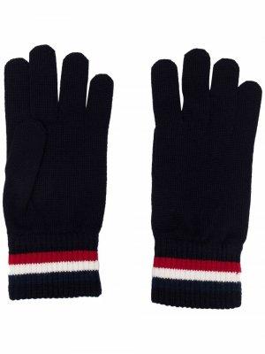 Перчатки с контрастными полосками Moncler. Цвет: синий