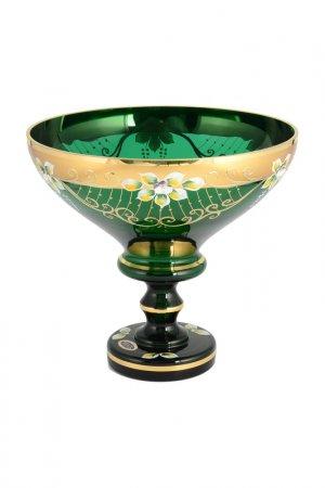 Фруктовница 26 см Bohemia. Цвет: зеленый, золотой