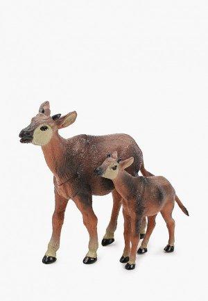Набор игровой Играем Вместе Мамы и малыши. Корова телёнок. Цвет: коричневый