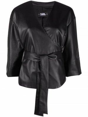 Куртка-рубашка из искусственной кожи Karl Lagerfeld. Цвет: черный