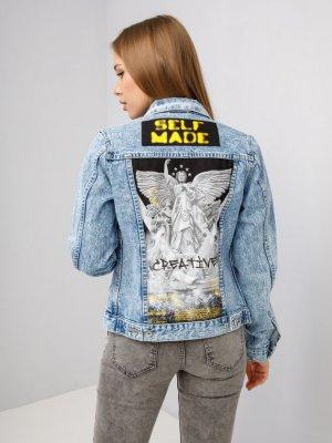 Куртка джинсовая ART SPRAY XIII Black Star Wear. Цвет: голубой