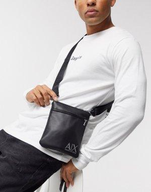 Черная сумка через плечо с логотипом -Черный Armani Exchange