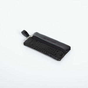 Ключница, длина 12 см, отдел на молнии, кольцо, цвет чёрный TEXTURA