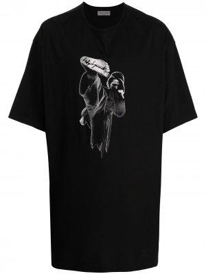 Футболка с принтом Yohji Yamamoto. Цвет: черный