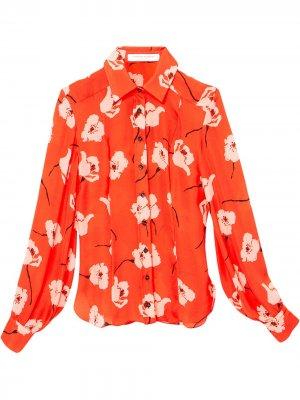 Рубашка с цветочным принтом Carolina Herrera. Цвет: красный