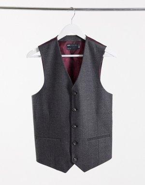 Темно-серый приталенный жилет с добавлением шерсти и узором в елочку wedding ASOS DESIGN