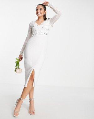 Белое свадебное платье миди облегающего кроя с отделкой -Белый Frock and Frill