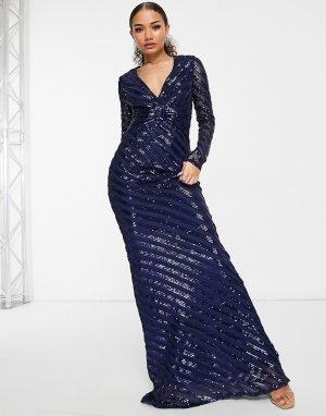 Темно-синее платье макси с пайетками, длинными рукавами и юбкой годе -Темно-синий Goddiva