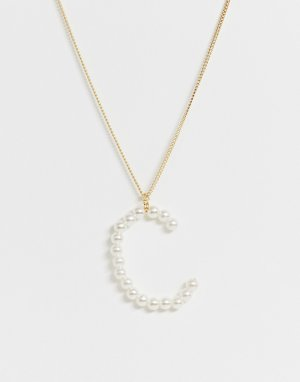 Ожерелье из искусственного жемчуга -Золотой DesignB London