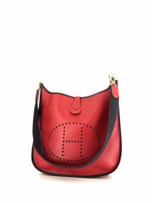 Большая сумка на плечо Evelyne 1997-го года Hermès. Цвет: красный