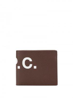 Бумажник с логотипом A.P.C.. Цвет: коричневый