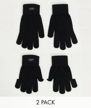 Набор из 2 пар черных перчаток -Черный цвет Jack & Jones