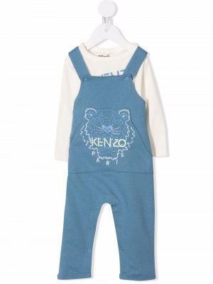 Tiger-motif logo tracksuit set Kenzo Kids. Цвет: синий
