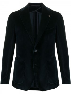 Velvet single-breasted blazer Tagliatore. Цвет: синий