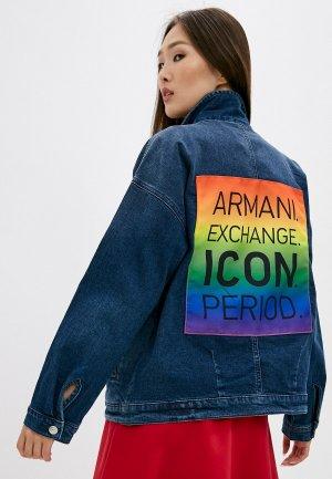 Куртка джинсовая Armani Exchange. Цвет: синий