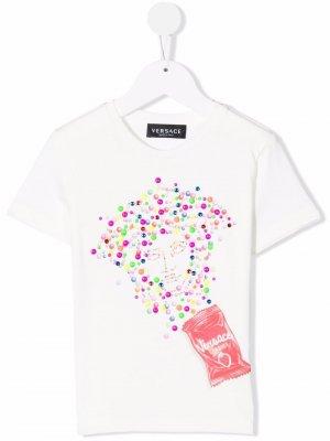 Medusa logo print T-shirt Versace Kids. Цвет: белый