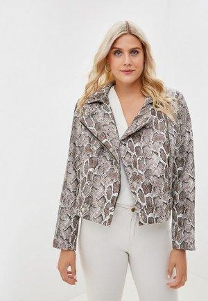 Куртка кожаная Авантюра Plus Size Fashion. Цвет: коричневый