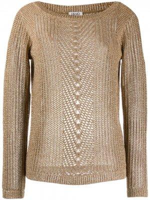 Вязаный полупрозрачный свитер LIU JO. Цвет: нейтральные цвета