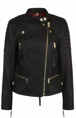 Кожаная куртка с косой молнией Burberry. Цвет: черный