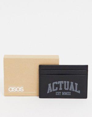 Кожаный кошелек для карт с фирменными деталями -Черный цвет ASOS Actual