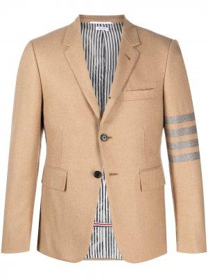Однобортный пиджак с полосками 4-Bar Thom Browne. Цвет: коричневый