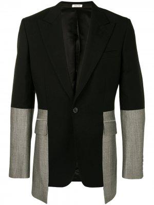 Двубортный однобортный пиджак Alexander McQueen. Цвет: черный