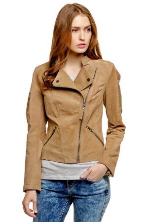 Кожаная куртка Denim 372187700718439 TOM TAILOR. Цвет: пыльный бежевый