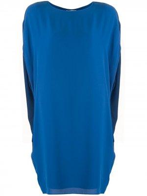 Платье-трапеция с приспущенными рукавами Halston Heritage. Цвет: синий