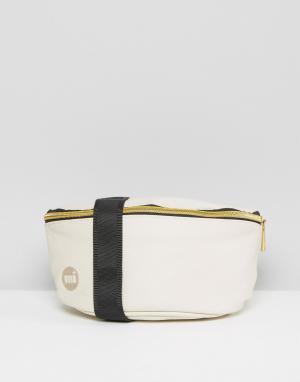 Кремовая сумка-кошелек на пояс с мятым эффектом Mi-Pac. Цвет: кремовый